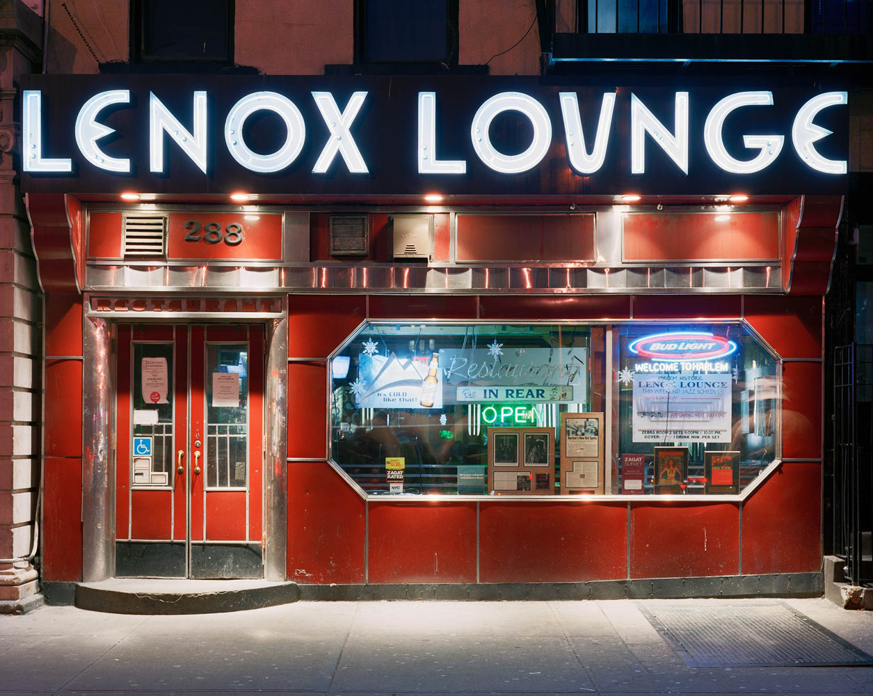 enox Lounge, 200 Lenox Avenue, Harlem, New York, 2005-2007, by David Leventi. Print on Dibond of bar exterior from the front with signage