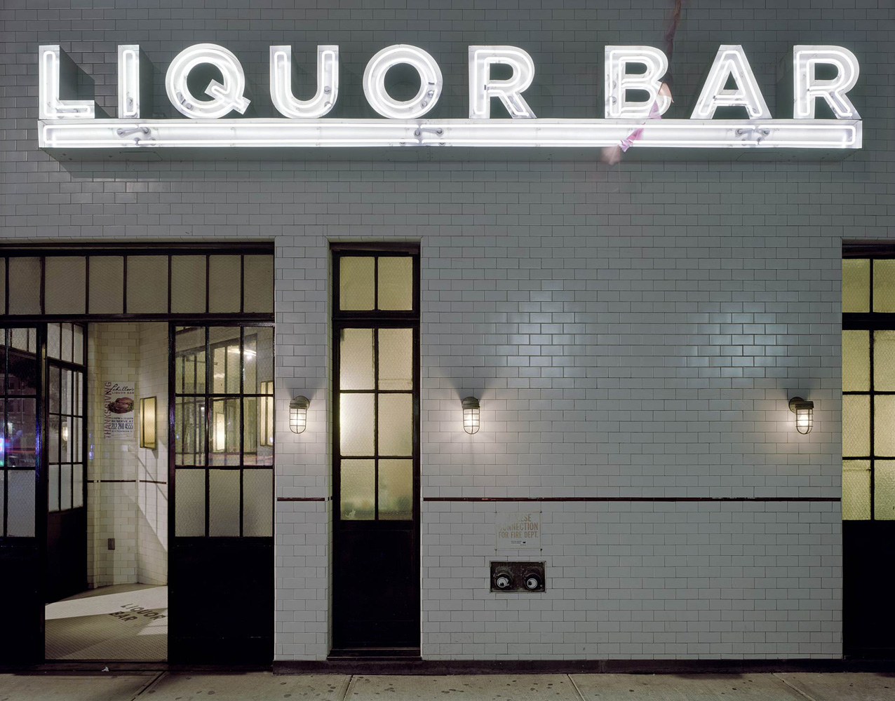 Scihller's Liquor Bar, 131 Rivington Street, Lower East Side, New York, 2005-2007, by David Leventi. Print on Dibond of bar's exterior at night.
