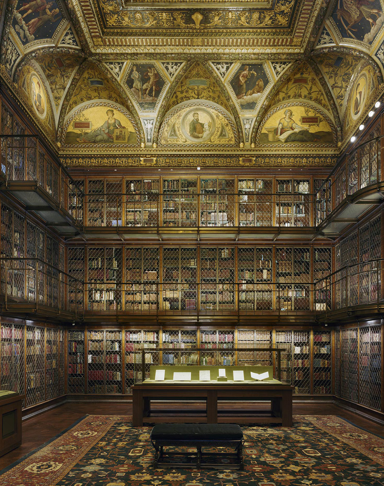 Morgan Library and Museum, 225 Madison Avenue, New York, New York, 2005 – 2--7, by David Leventi. Dibond print of interior library room.