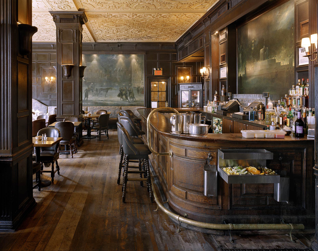 Oak Bar, 768 Fifth Avenue, New York, New York, 2005-2007, by David Leventi. Dibond print of the wooden interior of the bar, with seats and supplies.