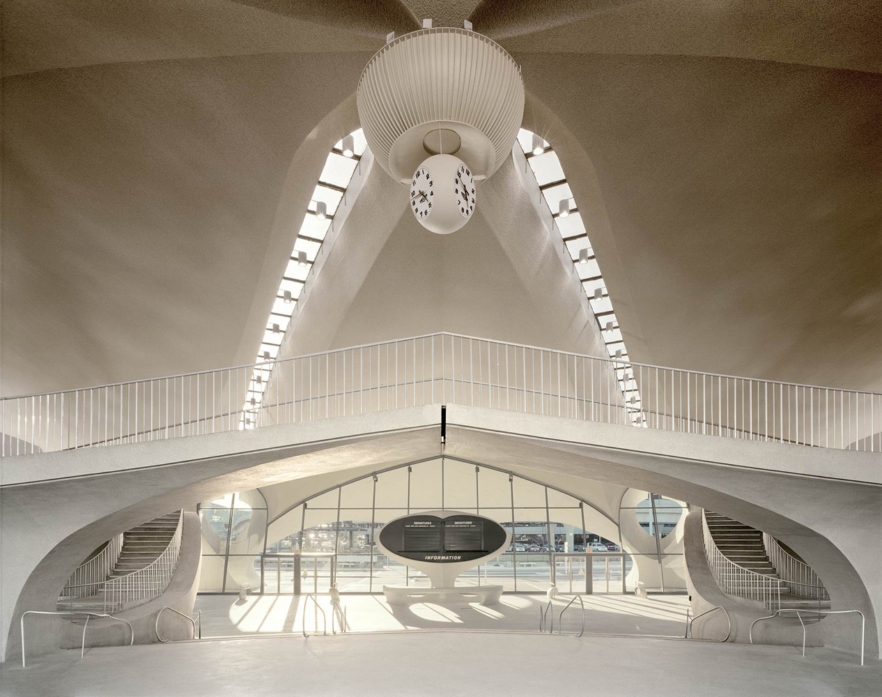 TWA Terminal No. 3, JFK International Airport, Queens, New York,  2005-2007, by David Leventi. Dibond print of the interior architectural details.