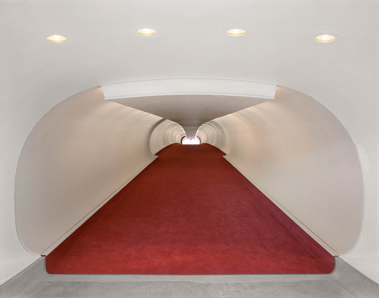 TWA Terminal No. 3, JFK International Airport, Queens, New York, 2005-2007, by David Leventi. Dibond print of a red carpeted terminal hallway.