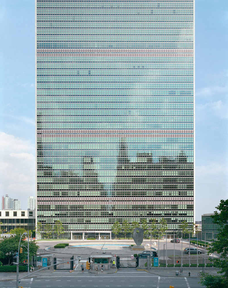 United Nations Secretariat Building, 405 East 42nd Street, New York, New York, 2005-2007, by David Leventi. Dibond print of the building front.