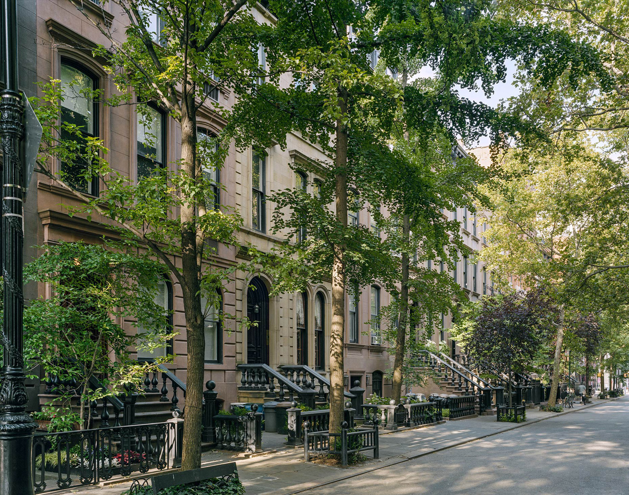Brownstones, West Village, New York, 2005-2007, by David Leventi. Dibond print of the brownstone flats and trees from the street view at day