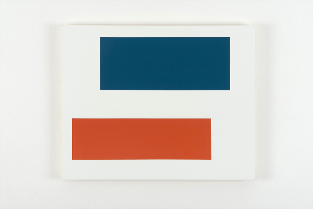 Decal 15, 2013, by Tom McGlynn. Acrylic and gouache on wood panel, minimally designed as a white background with a blue and an orange square inside.