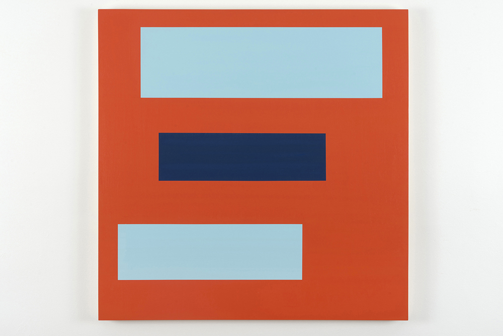 Decal 20, 2012, by Tom McGlynn. Acrylic and gouache on wood panel, minimally designed as an orange background with blue and dark blue squares inside.