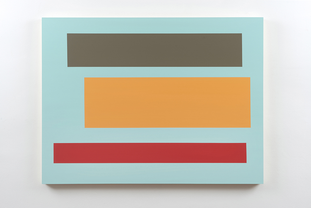 Decal 150, 2017, by Tom McGlynn. Acrylic and gouache on wood panel minimally designed as a teal square with a blue, dark green and red square inside.