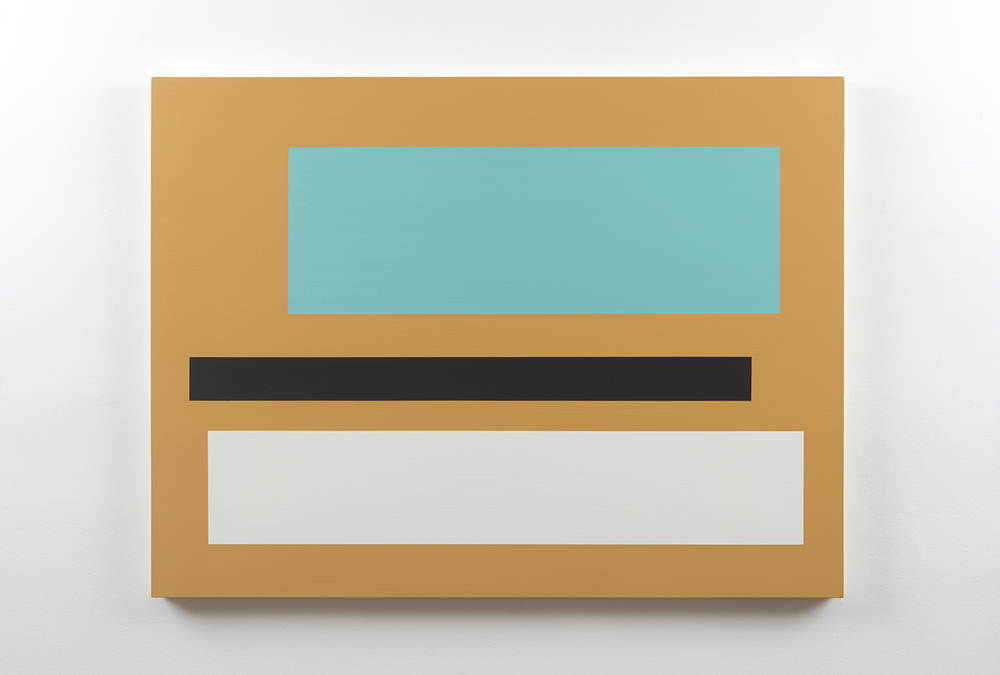 Decal 151, 2016, by Tom McGlynn. Acrylic and gouache on wood panel, minimally designed as a tan square with a teal, black and white square inside.