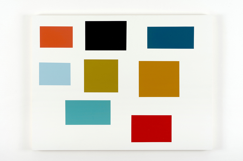Large Survey 22, 2014, by Tom McGlynn. Acrylic and gouache on wood panel minimally designed as a white square with eight multicolor squares inside.