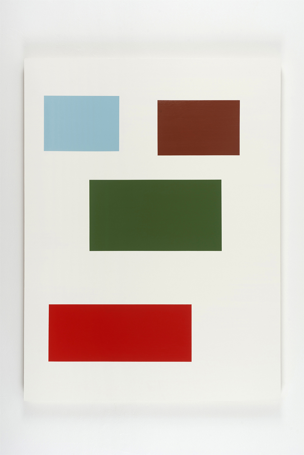 Large Survey (Mana), 2015, by Tom McGlynn. Acrylic and gouache on wood panel, designed as a white square with blue, orange, green and brown squares.