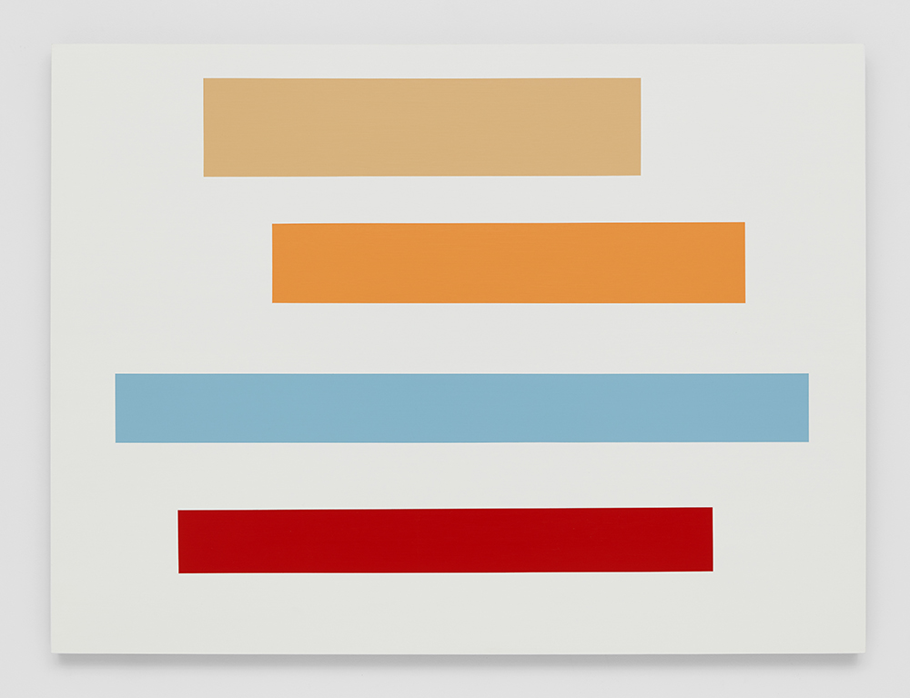 Decal 22, 2015, by Tom McGlynn. Acrylic and gouache on wood panel, designed as a white background with blue, orange, tan and yellow squares inside.