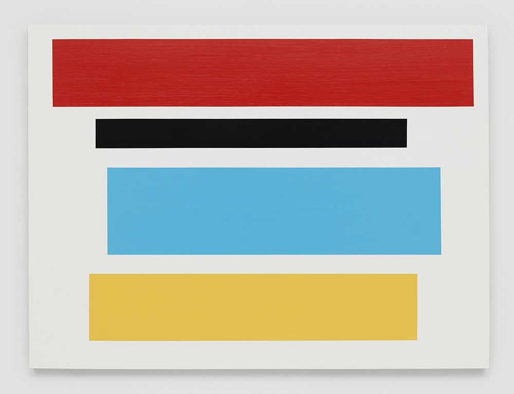 Decal 110, 2016, by Tom McGlynn. Acrylic and gouache on wood panel, designed as a white square with a blue, black, yellow and red square inside.