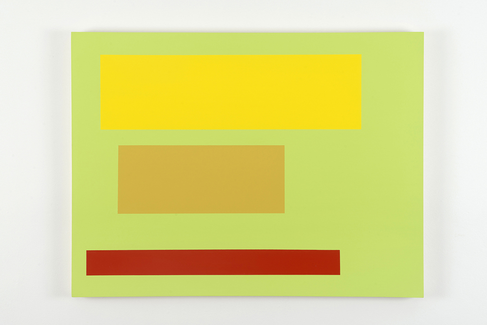 Survey 14, 2012, by Tom McGlynn. Acrylic and gouache on wood panel, minimally designed as a green background with a yellow, tan and red square inside.
