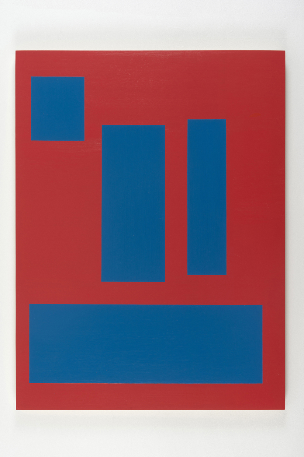 Station, 2012, by Tom McGlynn. Acrylic and gouache on wood panel minimally designed as a red background with four blue squares inside.