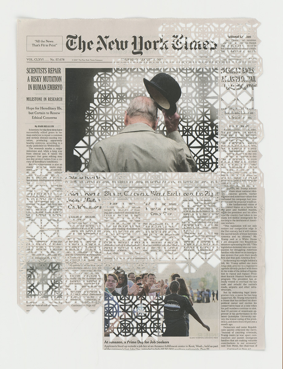 8.13.17 , 2017 The Migrant Series Hand cut pattern on deacidified newspaper 15 1/2 x 11 1/2 inches (39.4 x 29.2 cm)