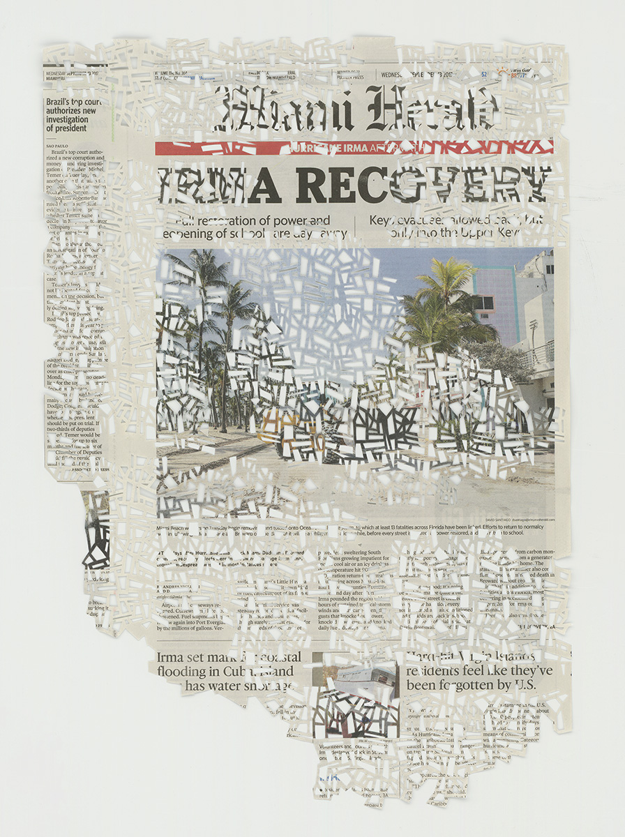 9.13.17 , 2017 The Migrant Series Hand cut pattern on deacidified newspaper 9 x 13 inches (48.3 x 33 cm)