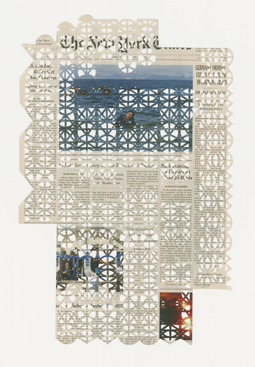 9.14.15 , 2015 The Migrant Series Hand cut pattern on deacidified newspaper 7 3/4 x 11 1/2 inches (45.1 x 29.2 cm)