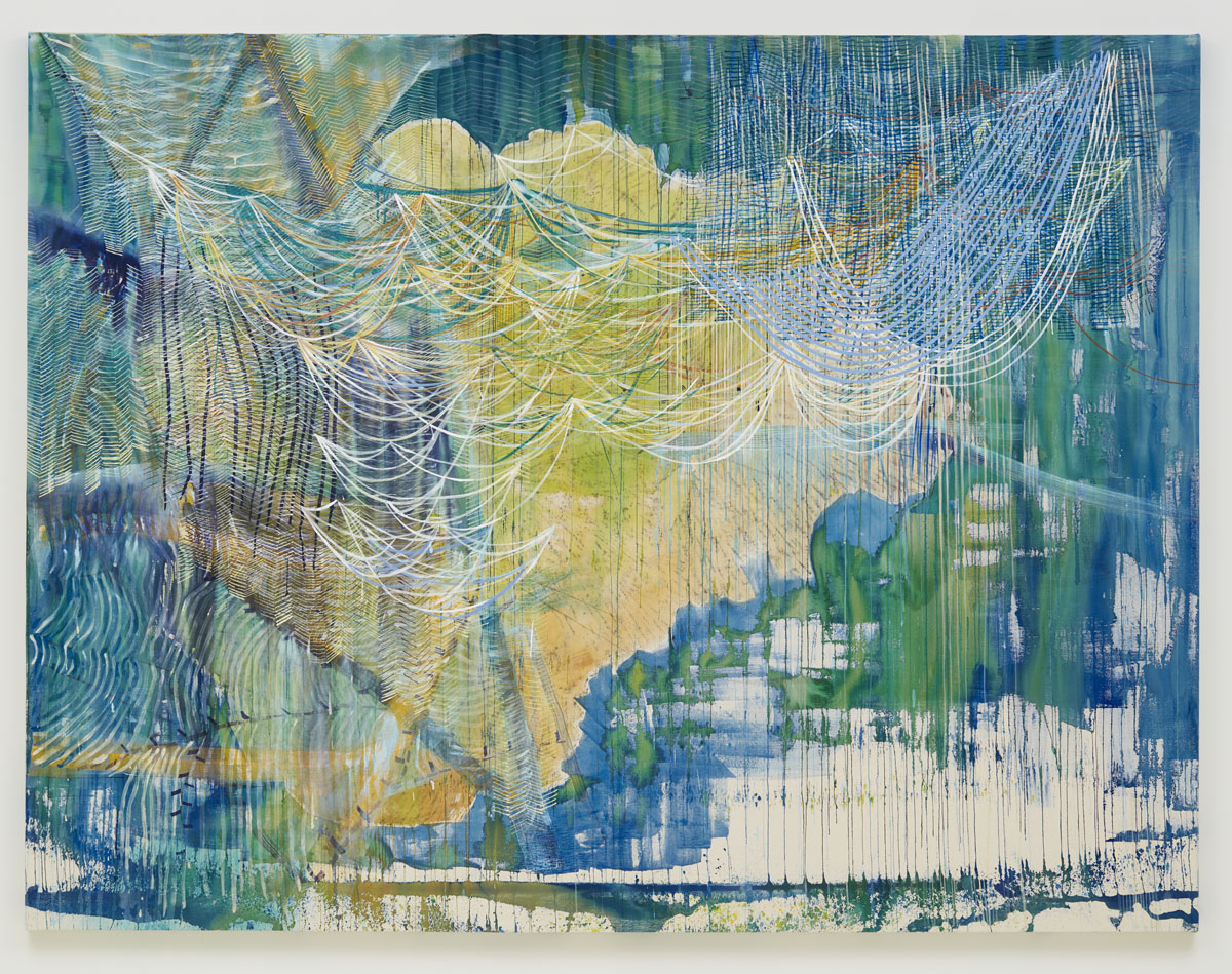 Clearing Oak, 2018, by Alyse Rosner, yellow, blue and green fine line pattern, abstract landscape, graphite and acrylic painting on raw canvas.