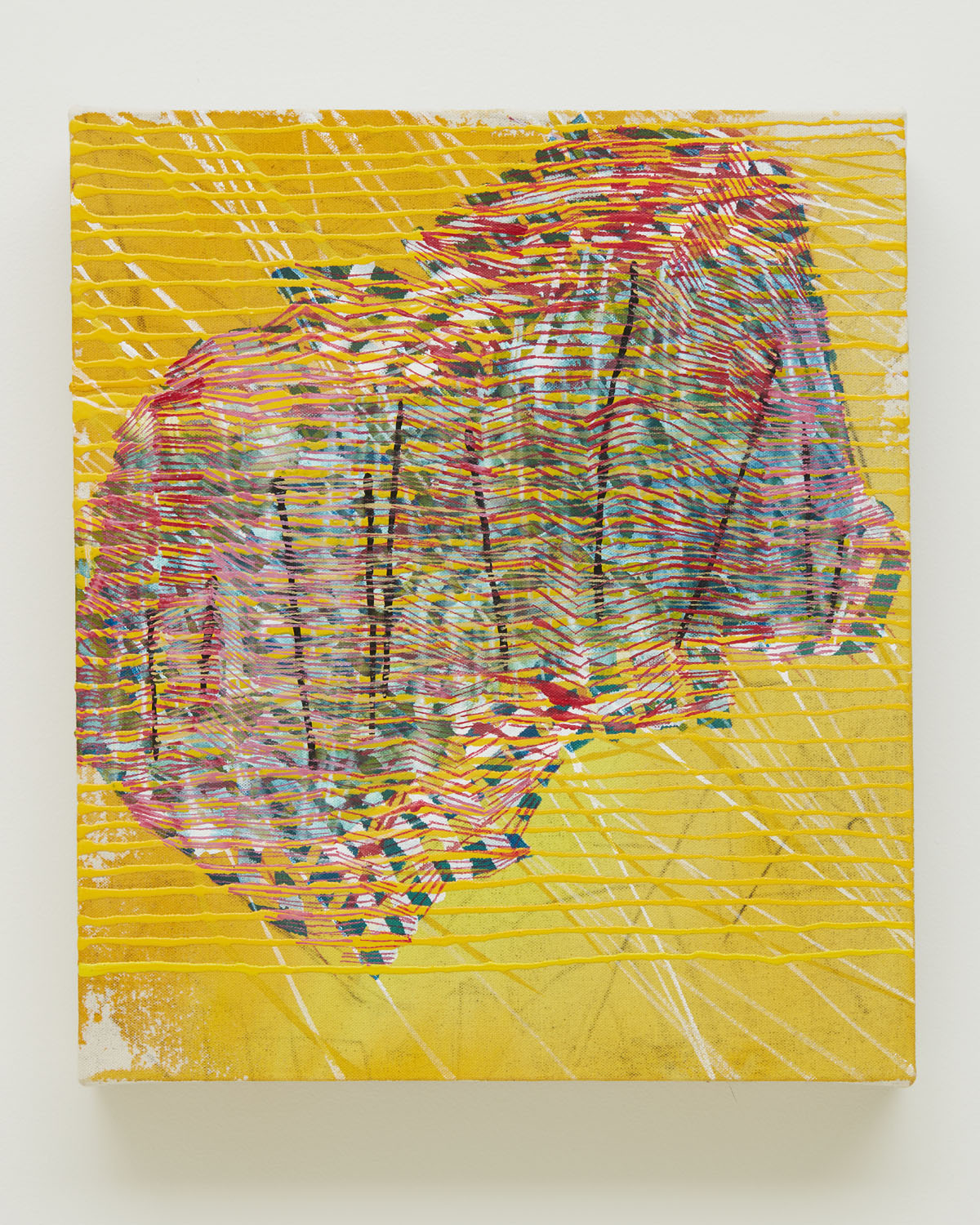 & Much More Besides, 2016, by Alyse Rosner is an abstract yellow acrylic and graphite line painting on raw canvas, with a central multi-colored form.