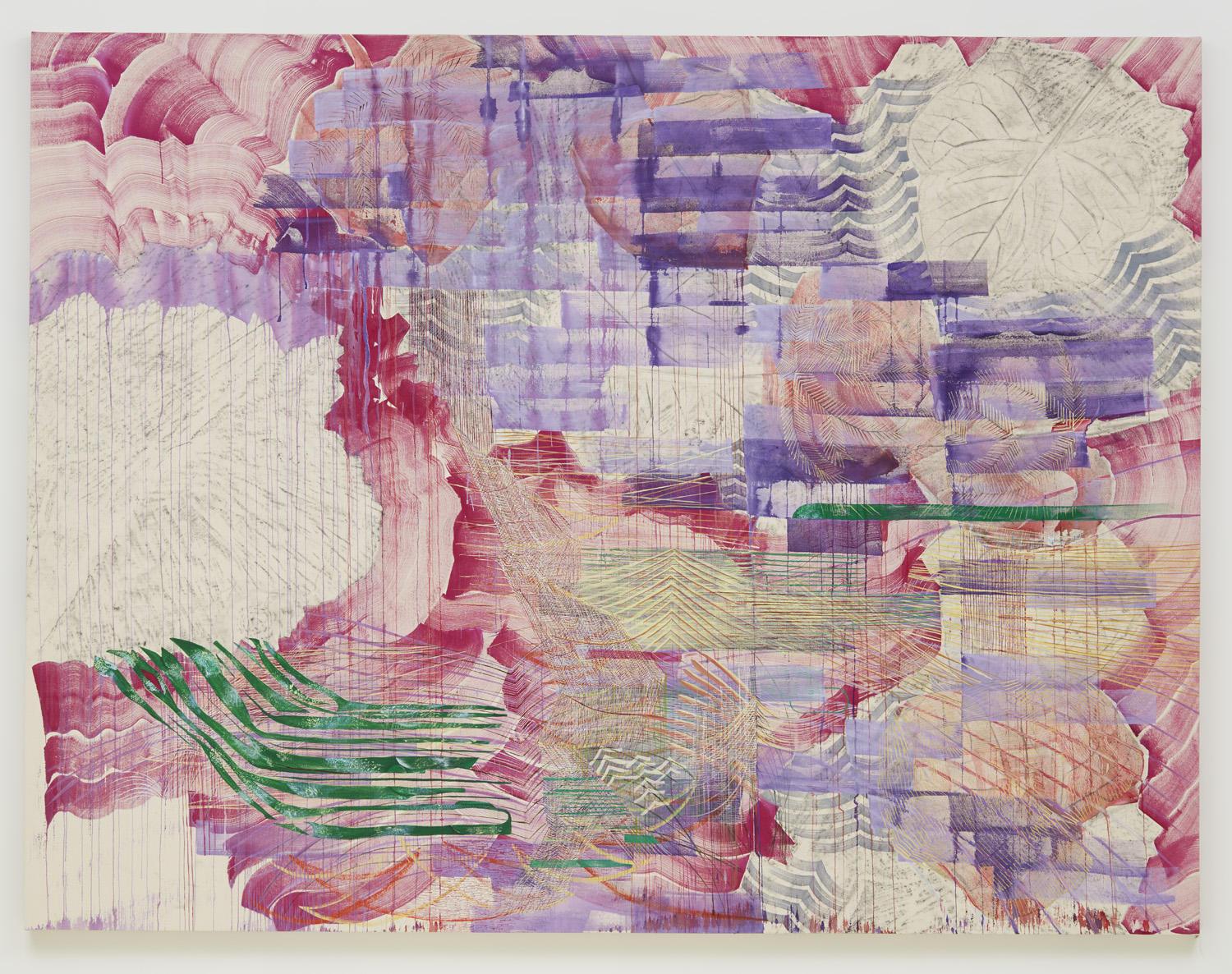 Cuttings (paulownia), 2018, by Alyse Rosner, is an pink, red, purple and green acrylic and graphite abstract linear and floral painting on canvas.