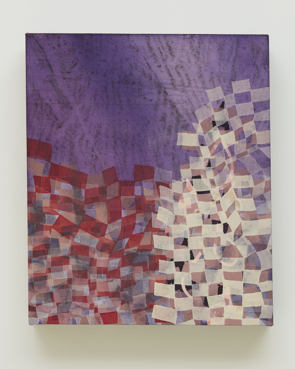 In Between, 2018, by Alyse Rosner, harlequin pattern, fine line pattern, purple, red, and white, graphite and acrylic painting on raw canvas.