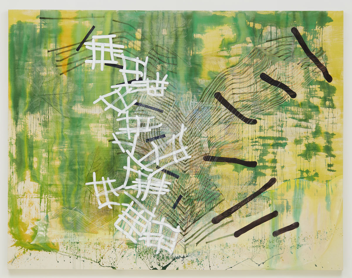 Into View (verdant), 2018, by Alyse Rosner, yellow and green abstract painting, with black and white lines cascading in the center of the canvas.
