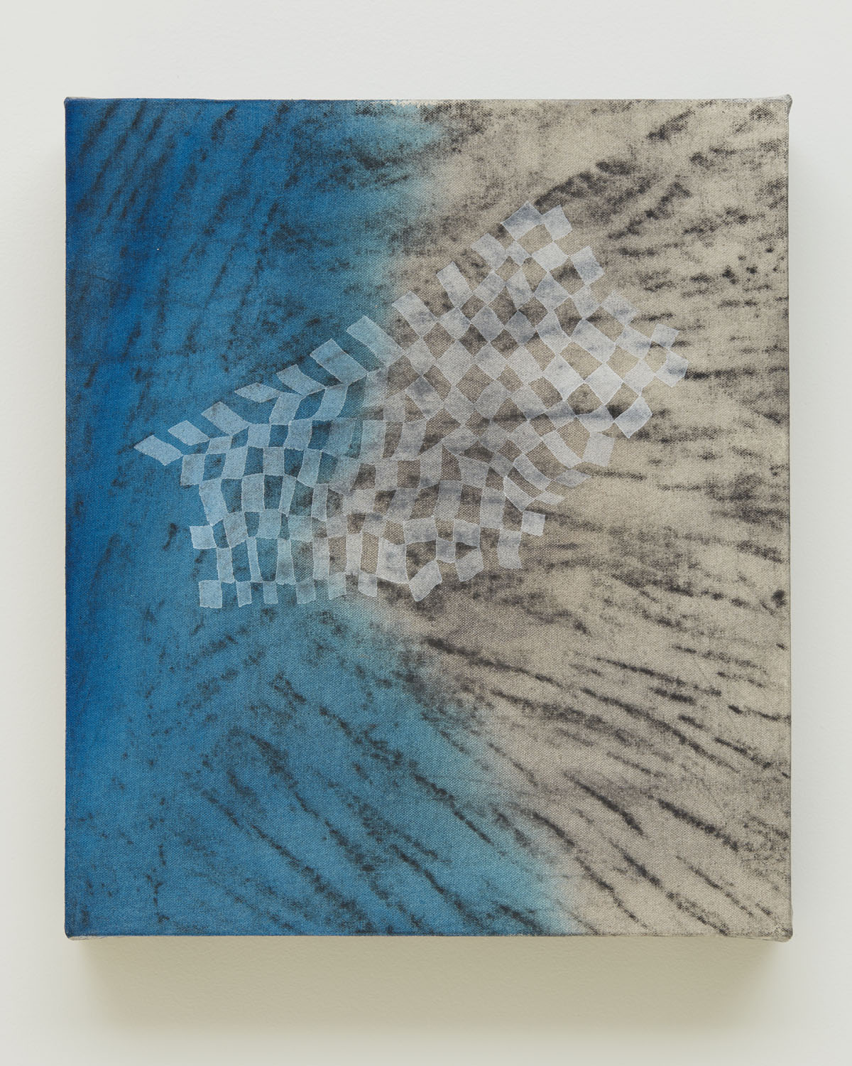 Just A Dream, 2016, by Alyse Rosner, harlequin pattern, white, blue and gray, graphite and acrylic painting on raw canvas.