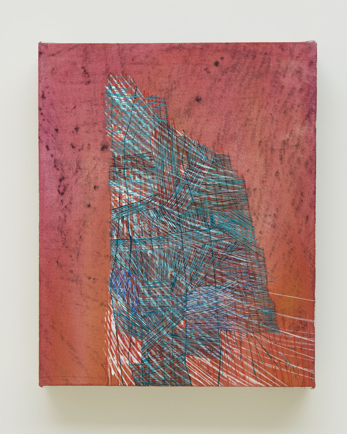 Only After, 2016, by Alyse Rosner, acrylic and graphite painting on canvas. Coral background with central turquoise hatched linear abstract form.