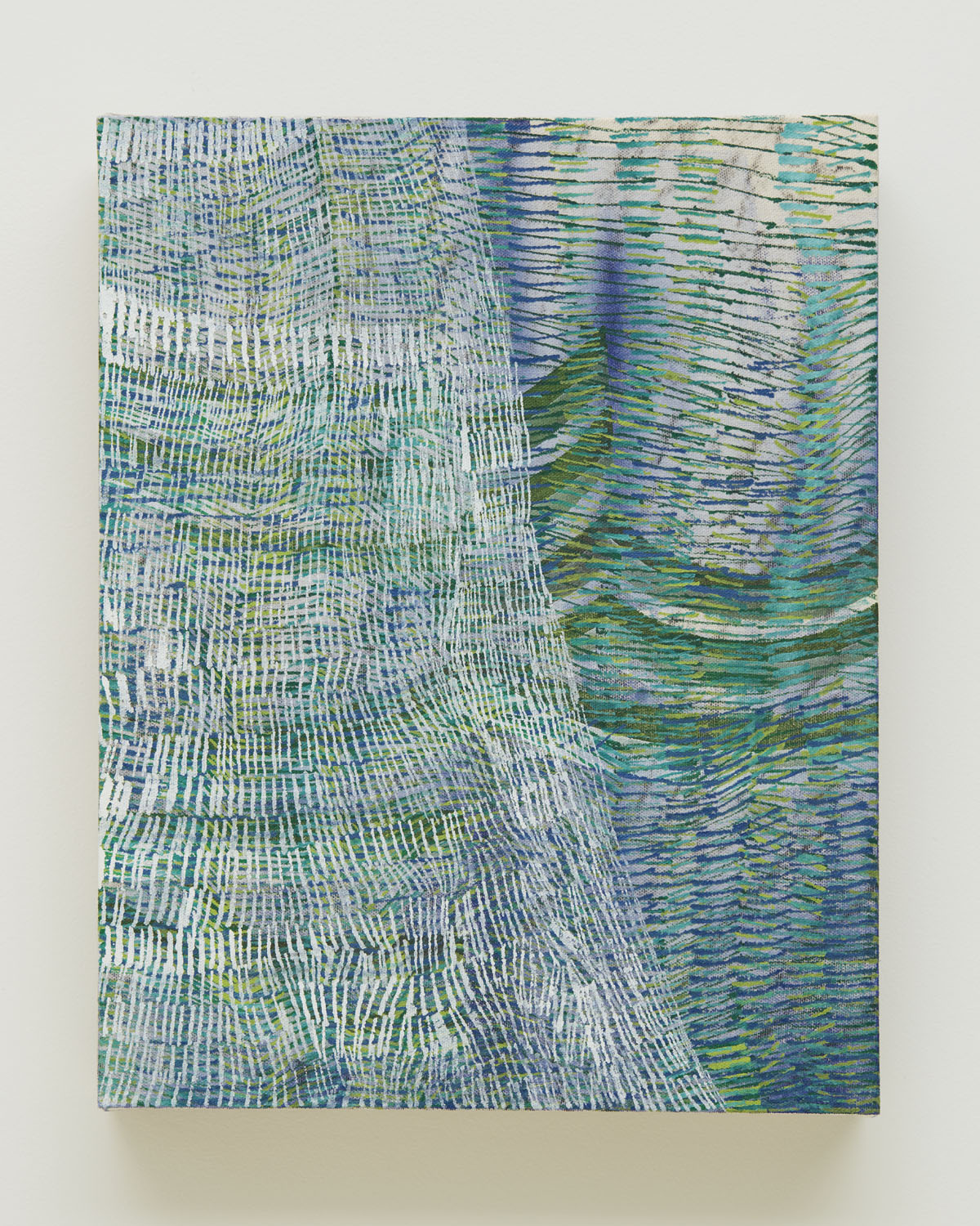 See Through, 2017, by Alyse Rosner, translucent white, blue and green,  fine line pattern, graphite and acrylic painting on raw canvas.