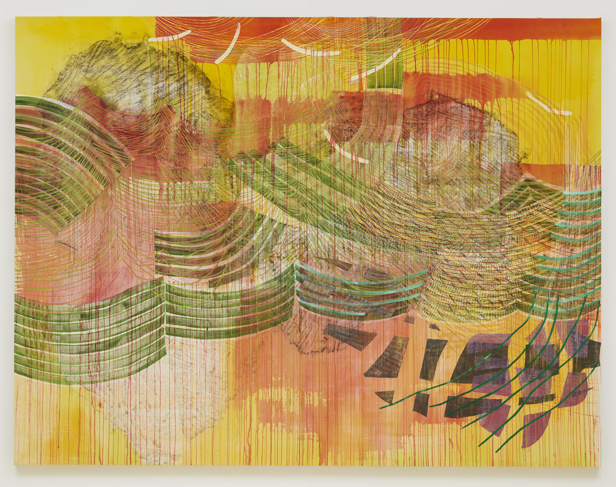Switch (yellow), 2018, by Alyse Rosner, abstract painting with yellow, red and green lines and paint drips overlaid, in wave patterns.