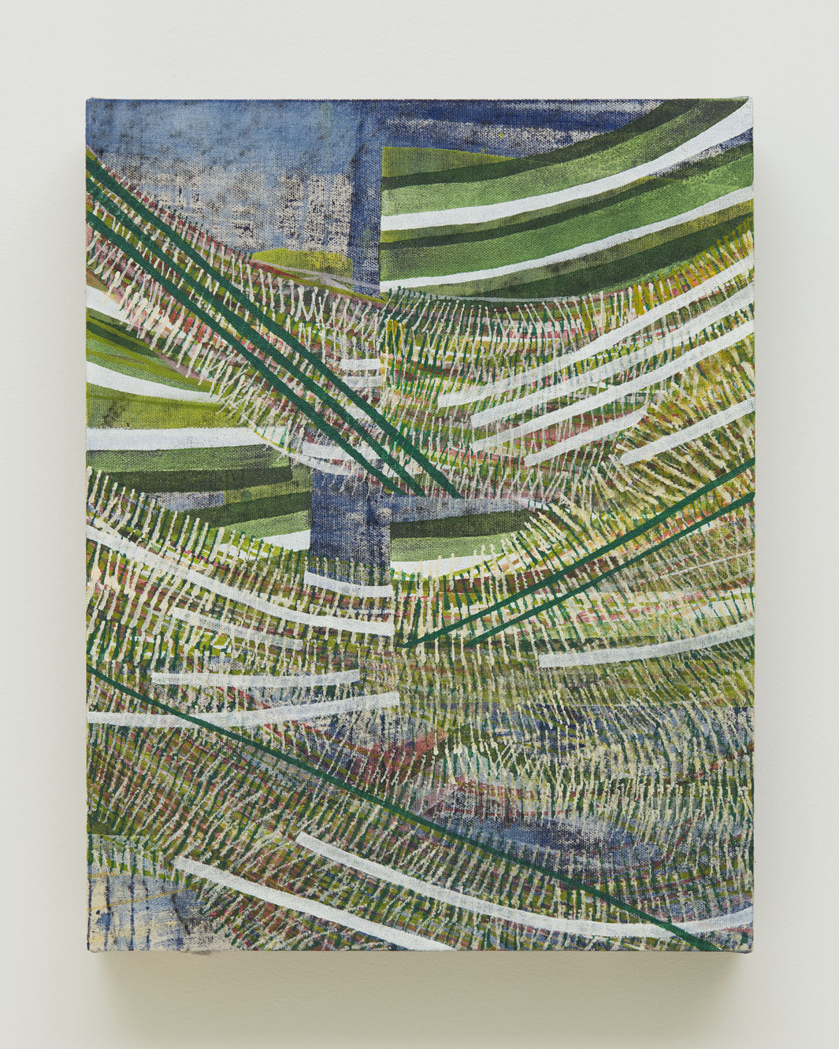Split Second, 2017, by Alyse Rosner, is an abstract, green and blue acrylic and graphite linear dynamically composed landscape painting on canvas.