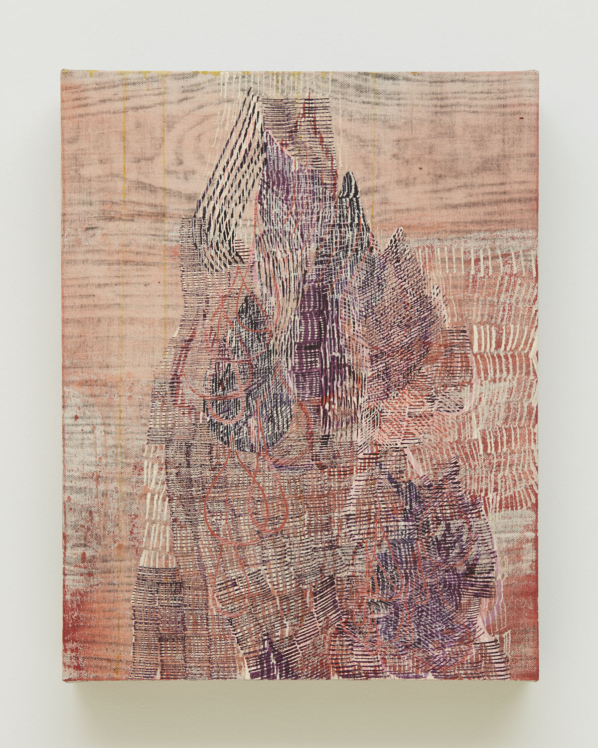 Tight Knit, 2017, by Alyse Rosner, purple and red, abstract ,wood grain and hatched line pattern, acrylic and graphite painting on canvas.