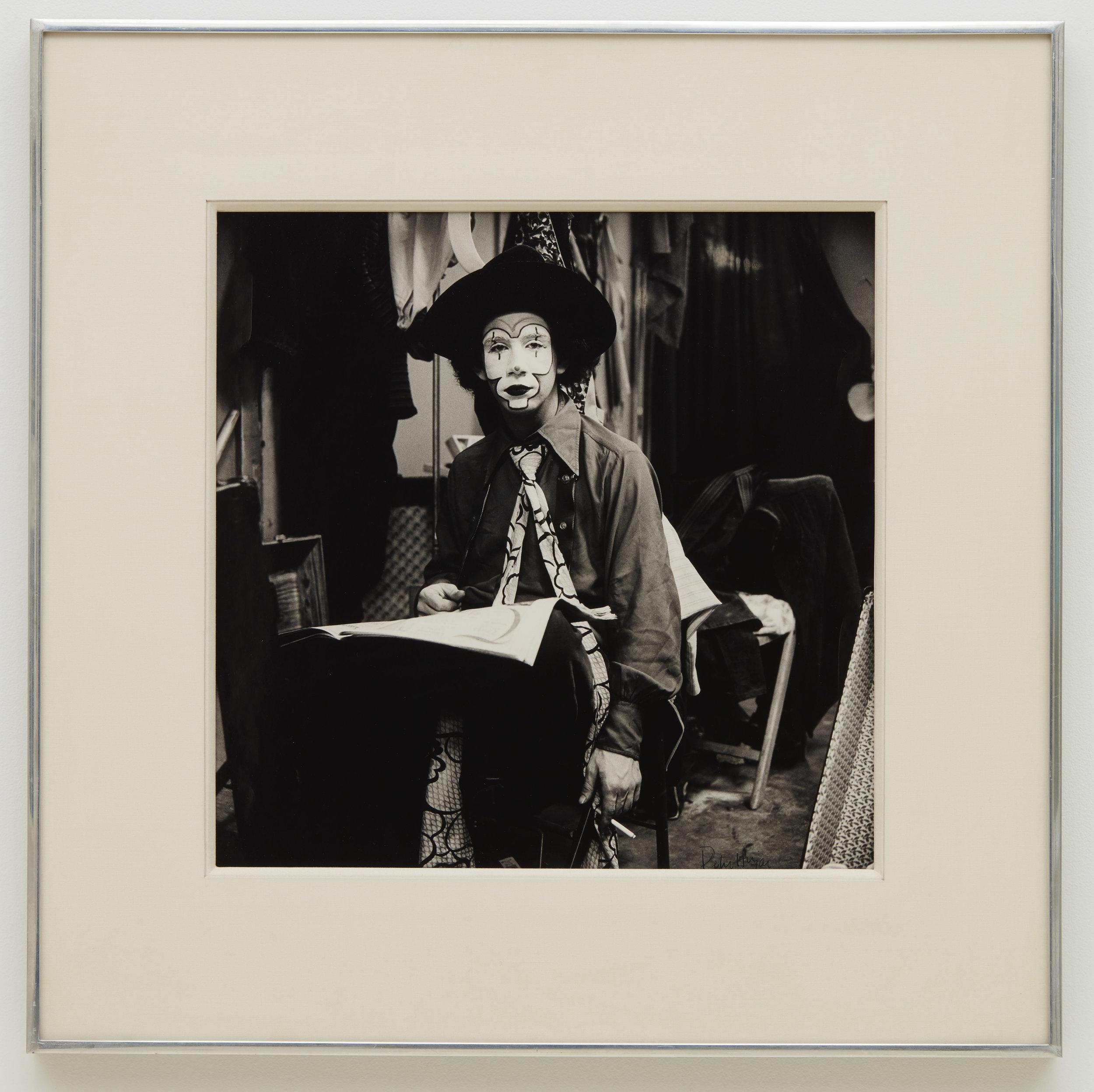 Peter HUJAR  Clown with Long Tie (II) , 1972 Gelatin silver print 14 5/8 x 14 5/8 inches