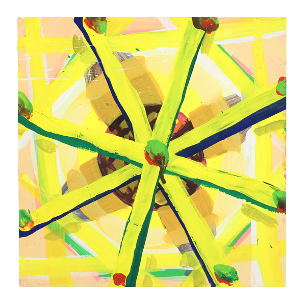 Cat Balco  Yellow Wheel , 2018 Gouache on paper 8 x 8 inches