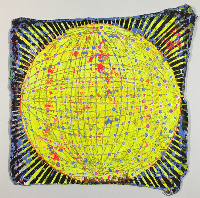 Jason Rohlf  Solar,  2016 Acrylic on muslin Shop Rag, mounted on custom cut Sintra backing board