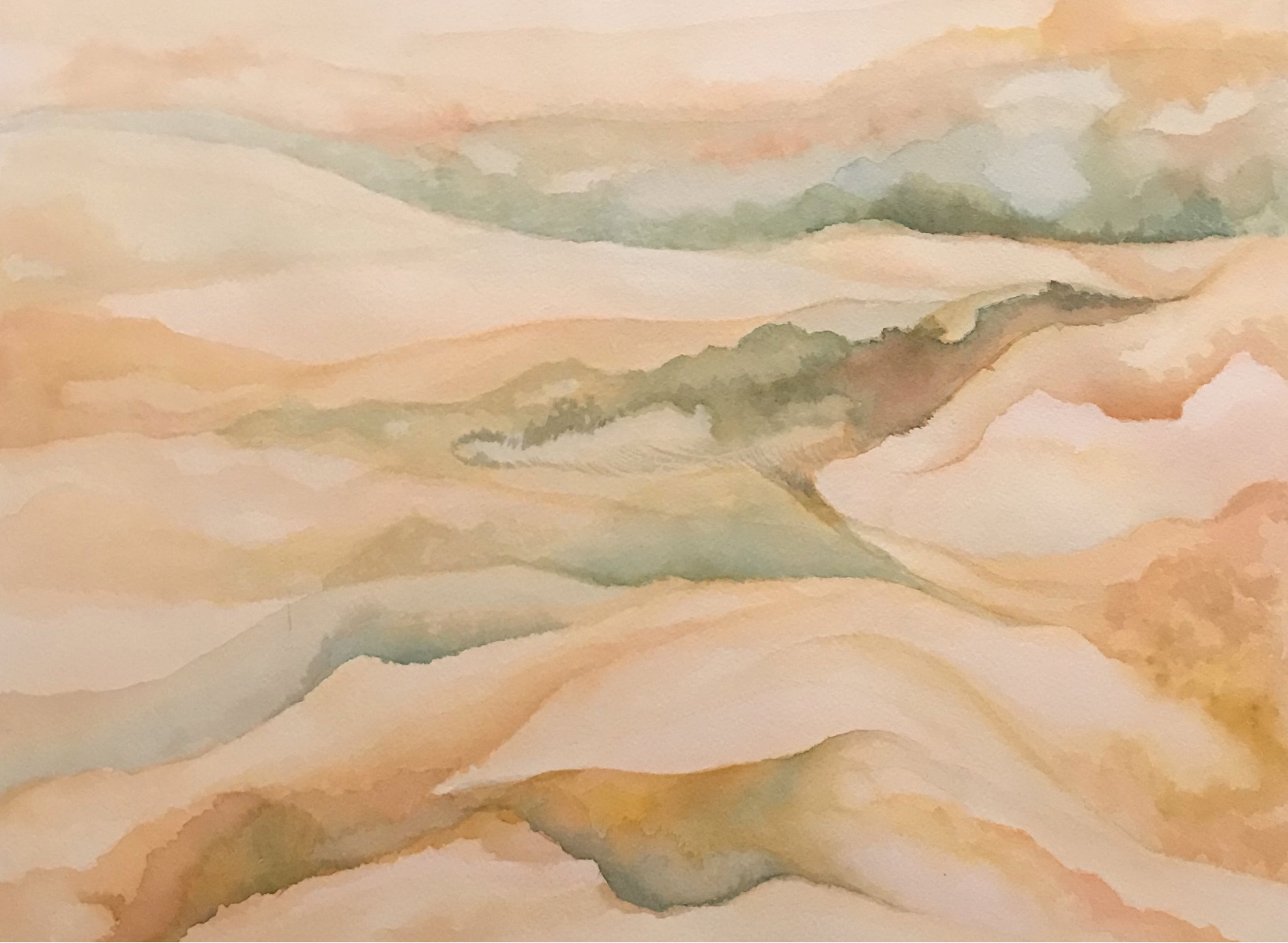 Viewing Their World Through Echoes , 2018 Watercolor on paper 12 x 16 inches