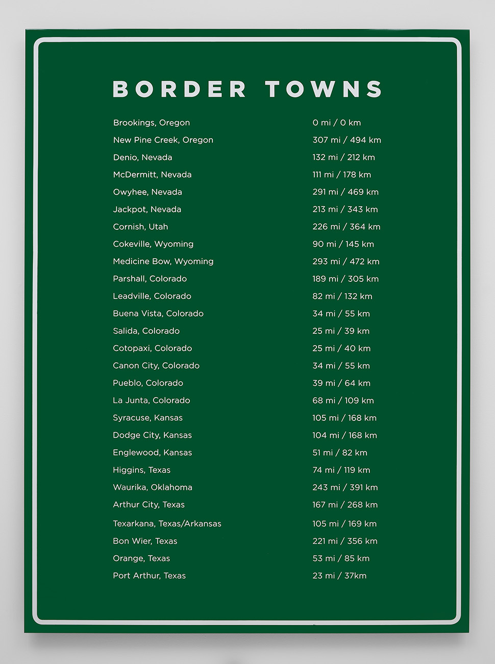 Border Towns , 2016 Automotive paint and vinyl over aluminum 54 x 73 inches Edition 1 of 3
