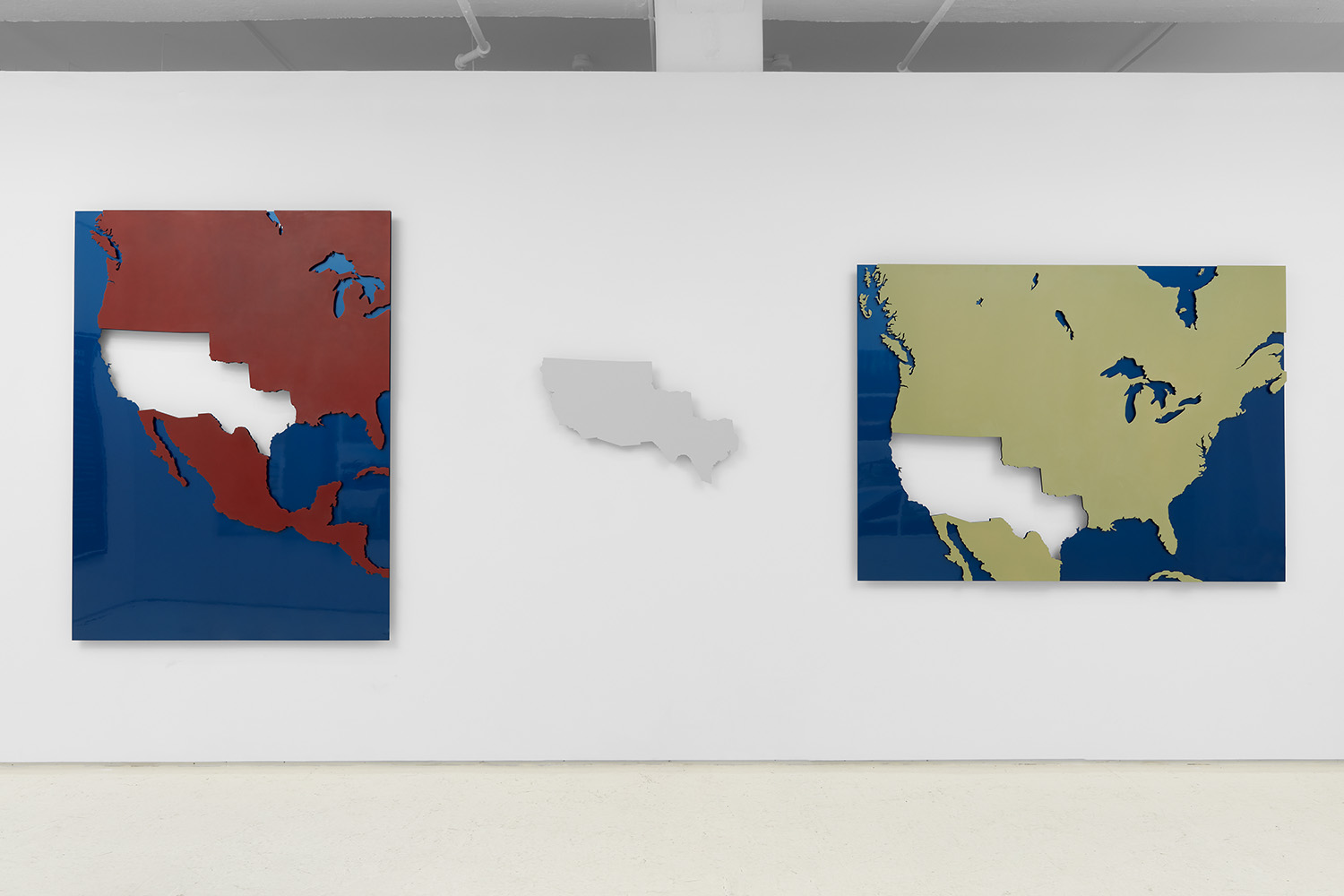 Punto de Vista / Point of View , 2016 Three aluminum maps with automotive paint 54 x 73 inches Edition 1 of 3