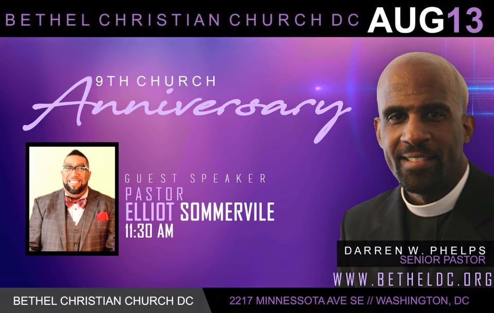 August 13, 2017 - 9th Church Anniversary.  Pastor Elliot Sommerville preaching.