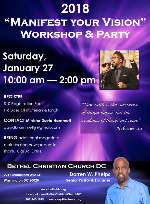 """Saturday, January 27, 2018 - """"Manifest Your Vision"""" Workshop & Party. Contact: Minister David Hammett"""