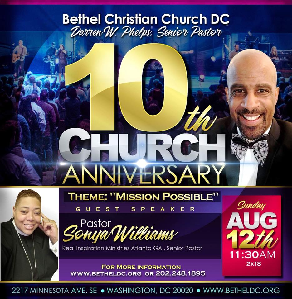 Celebrate our 10th anniversary with us at worship, 11:30am on Sunday August 12. Pastor Sonya Williams (Real Inspiration Ministries, Atlanta GA) will be preaching!