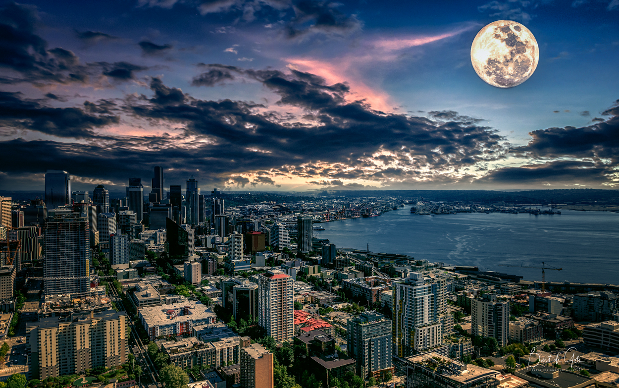 Seattle Under Full Moon Light - Blended image of Foreground and moon