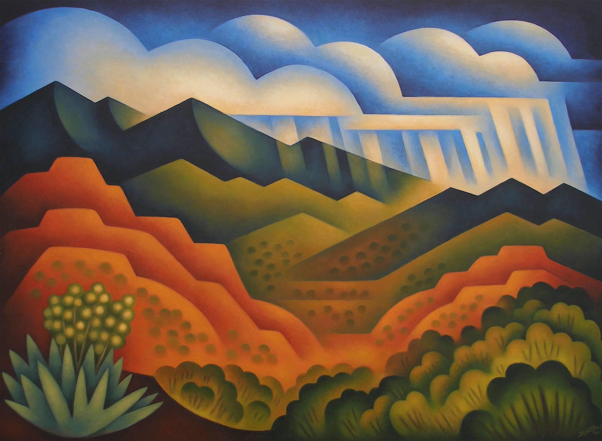 "Distant Cloudburst | Acrylic on panel | 36"" x 48"""