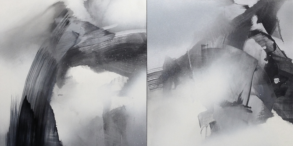 SILVER MEDIUM I & II  2013 Oil and enamel spray paint on panel, 12 x 24 inches