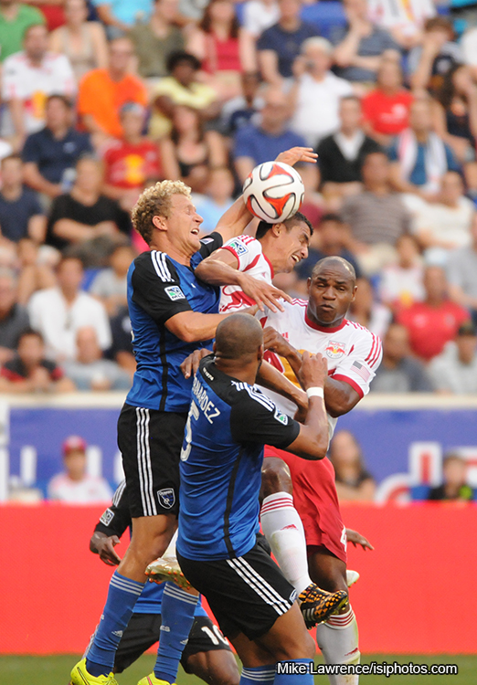 The controversial handball in the box resulting in the Bradley Wright-Phillips penalty kick