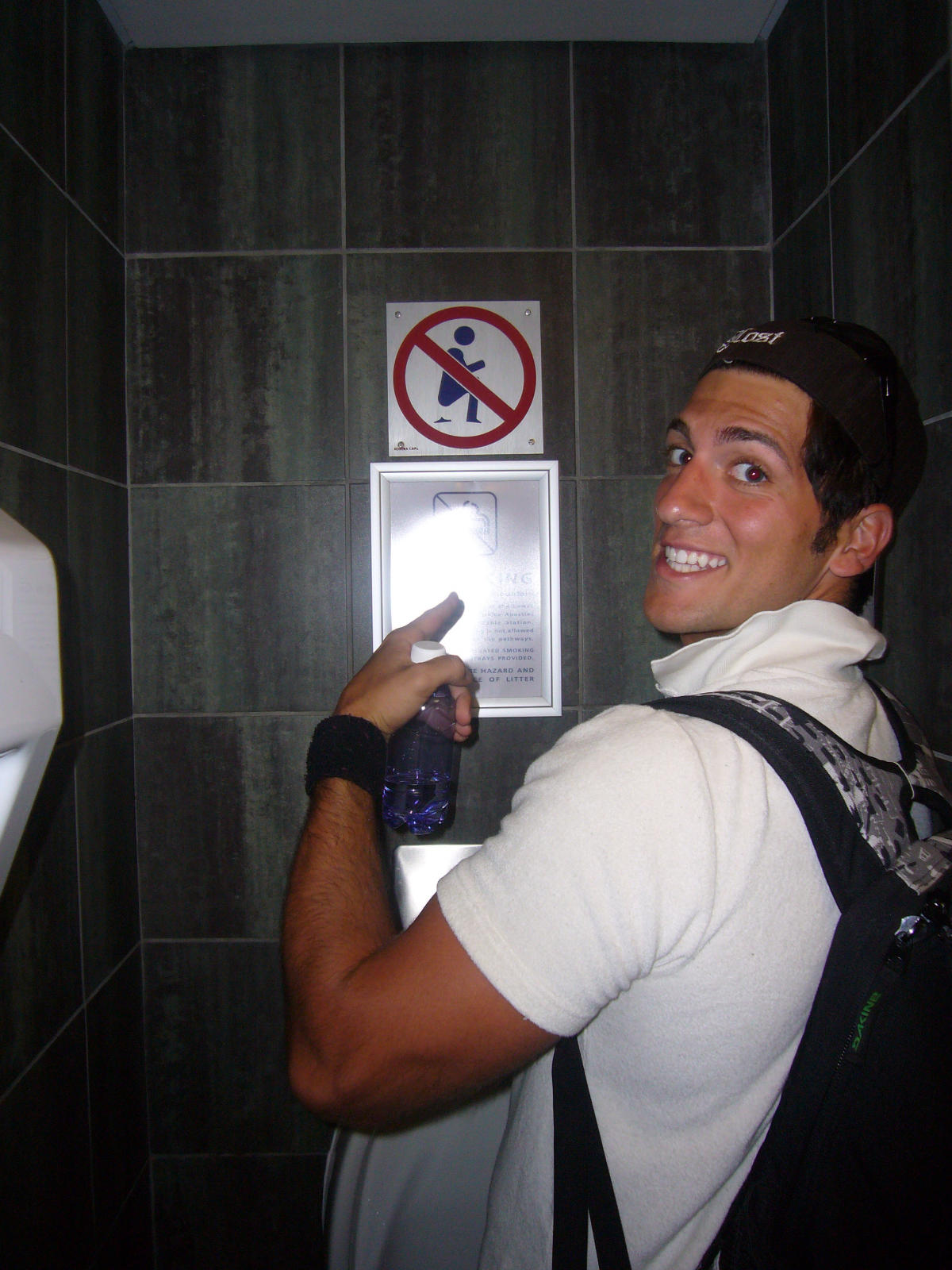 Kenny familiarizing himself with the proper way to use the toilet in S. Africa (Inferno 3 2007)