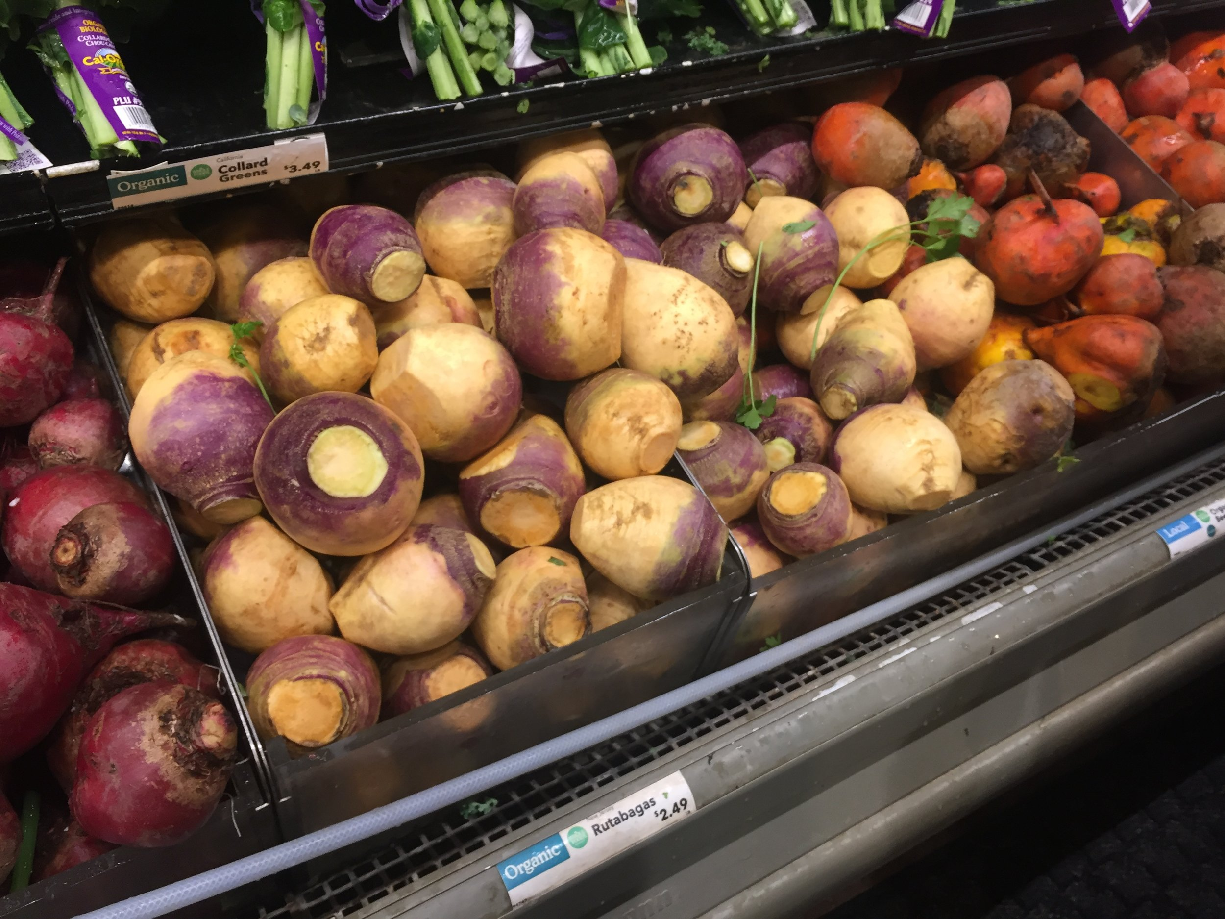 Rutabaga can be found in the root vegetable section in the grocery store.