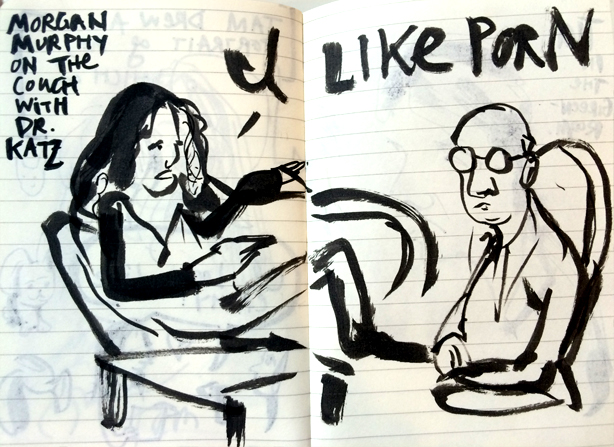 Morgan Murphy on the couch with Dr. Katz.