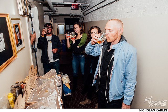 Taking a shot of Jamison with Stephanie Allynne and Bill Burr.