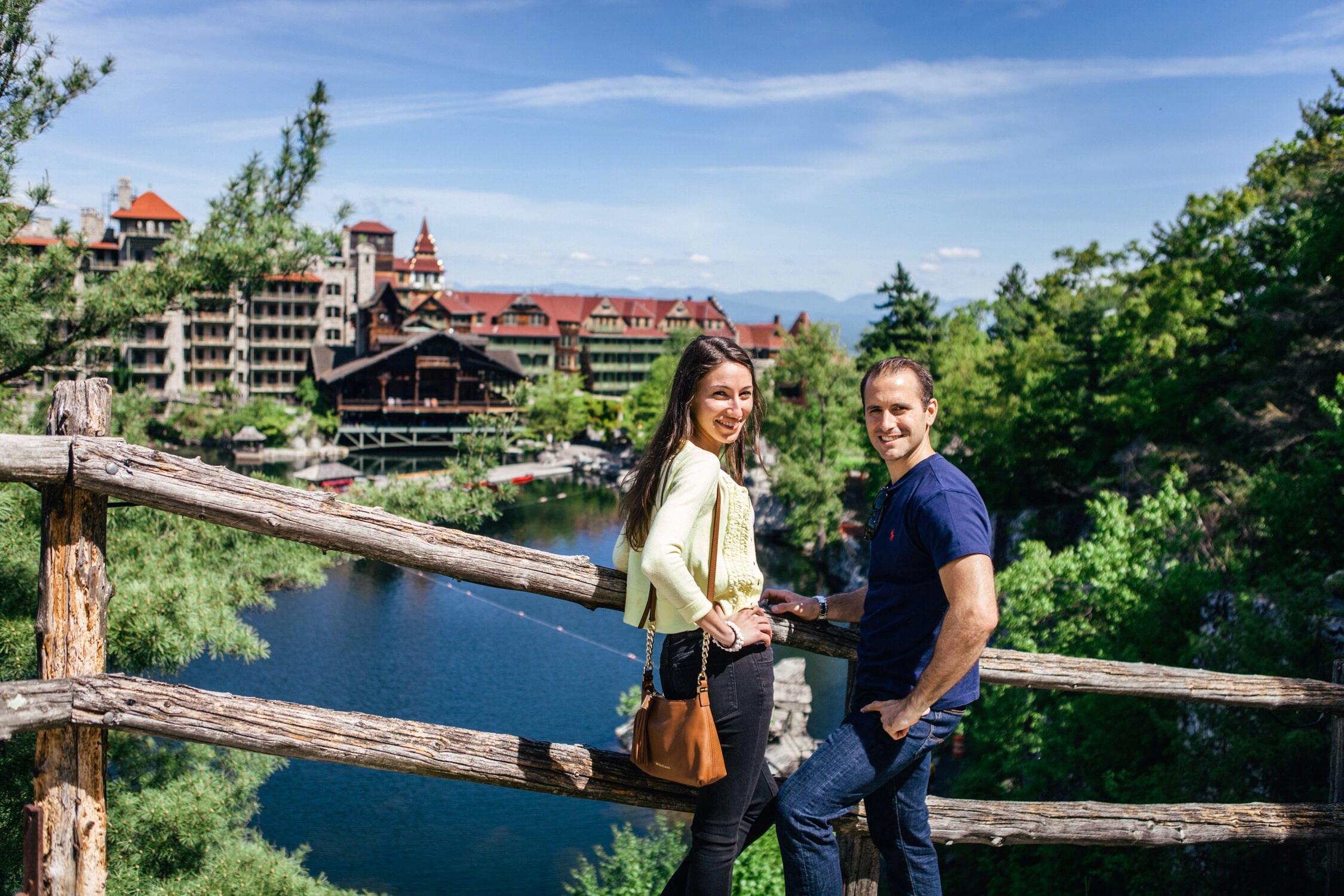 Before the proposal, on our way to the summit. Posing for a photo with Rossella, opposite the Mohonk Mountain House, New Paltz, NY.
